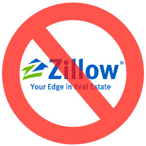 image of zillow logo with a red circle slash