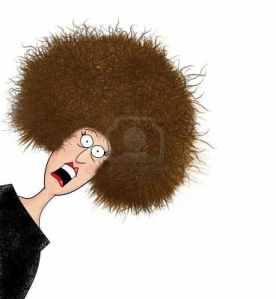 Cartoon lady with large afro freaking out!